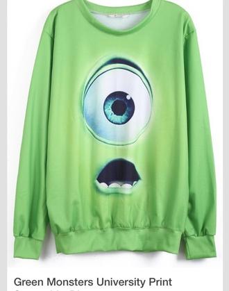 green disney sweater disney mike wazowski eye walt disney sweater sweatshirt crewneck baggy shirt