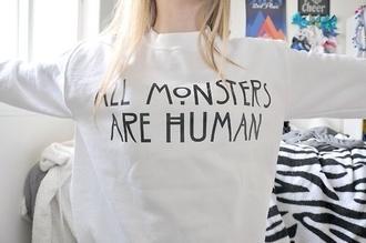 sweater white monster human true