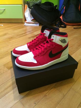 shoes jordans jordan jordans 1s white red black nike nike shoes running running shoes causal shoes casual