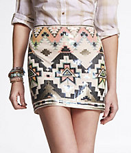 SEQUIN EMBELLISHED MINI SKIRT | Express