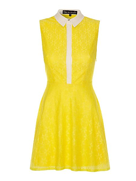 Mela loves london lace collared sleeveless dress yellow