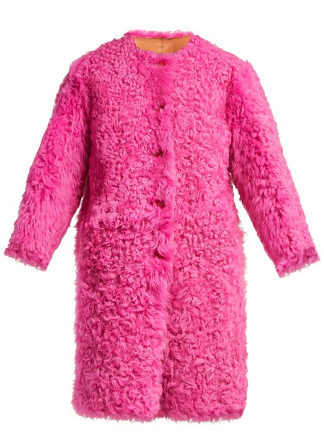 REDVALENTINO Reversible shearling coat in pink