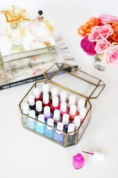 nail accessories,urban outfitters,home accessory,gold,glass,color/pattern,red,pink,blue,orange,black,white,nail polish,purple,essie,metallic home decor,beauty organizer