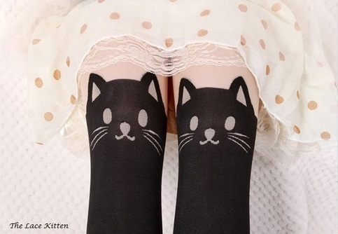 Black cat stockings · the lace kitten · online store powered by storenvy