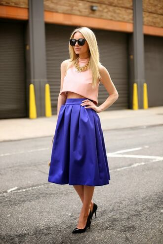 atlantic pacific t-shirt skirt shoes sunglasses jewels dress blue skirt pink top top midi skirt navy skirt blogger
