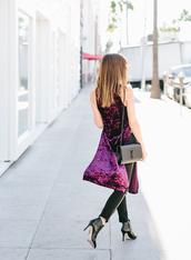 dress,tumblr,purple dress,purple,velvet,velvet dress,dress over pants,bag,black bag,ysl,ysl bag,pants,black pants,boots,black boots,high heels boots,ankle boots