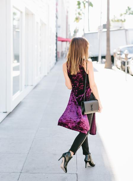 38025d975378 dress tumblr purple dress purple velvet velvet dress dress over pants bag  black bag ysl ysl
