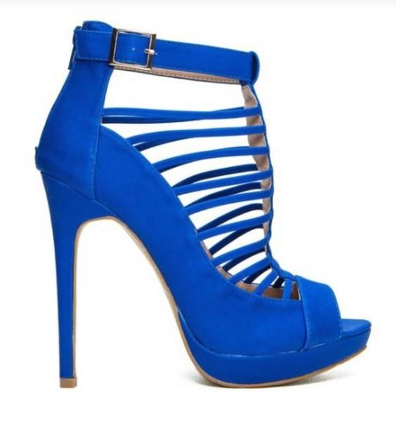 e89f462fb6 shoes royal blue shoesstrappy royal blue strappy strappy heels caged heels  neon blue heels royal blue