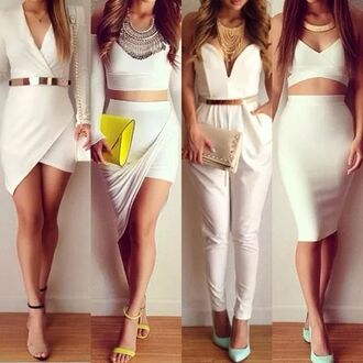 skirt jumpsuit white strapless chic pantsuit romper style blogger fashion blouse jewels bag asymmetrical skirt pencil skirt wrap dress two piece dress set white skirt dress