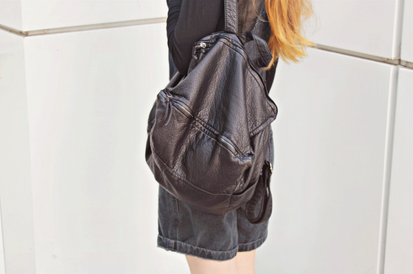 bag black bag backpack swag stylemoi leather backpack