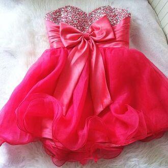 dress bows pink dress pink pink prom dress prom dress short pink prom dress sparkly pink bow dress pink bow prom dress sequined dress fashion lovely hot pink dress bow dress rhinestone rhinestone dress dress pink bow cute