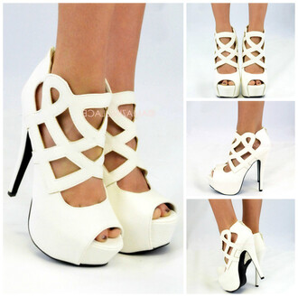 shoes platform shoes stiletto shoes caged heels white hot dress dressy