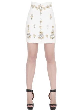 skirt mini skirt mini embellished white