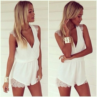 jumpsuit dress lace white romper cuff bracelet plunge v neck tank sleeves sleeveless chiffon women jumpsuit t-shirt and.also blouse lace tank top chic white tank top white lace top rose wholesale white dress lace dress deep v casual fashion top white sleeveless top lace shoulders v neck