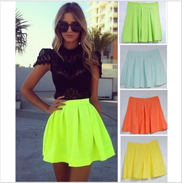 Flirty Short Mod Skirt Sexy Celebrity High Waisted Neon Pleated Skirt Plus Sizes | eBay