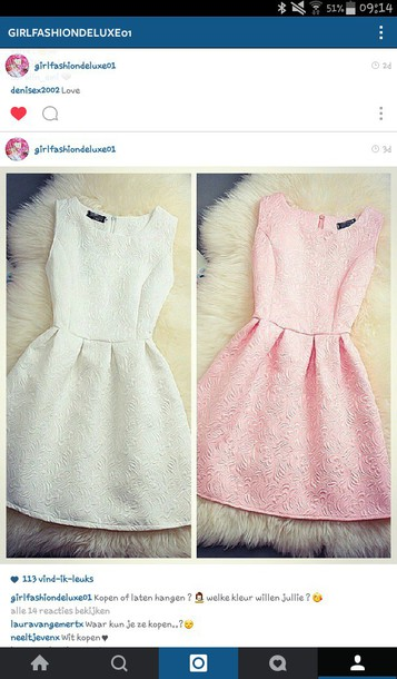dress colorful brand pink white pattern