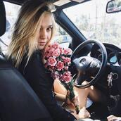 jacket,alexis ren,model,pink flowers,flowers,leather jacket,blonde hair
