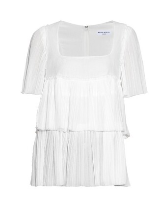 top pleated cotton white