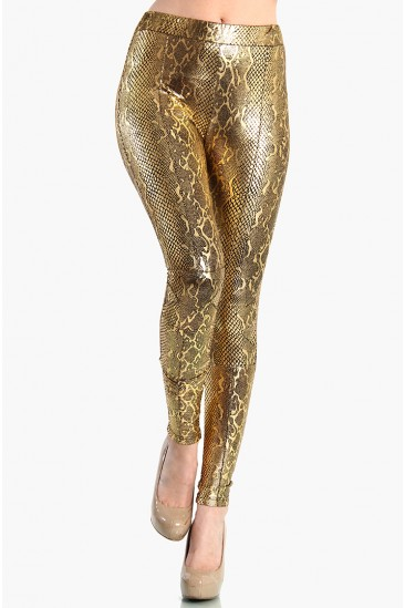 OMG High Waist Gold Snake Shiny Leggings