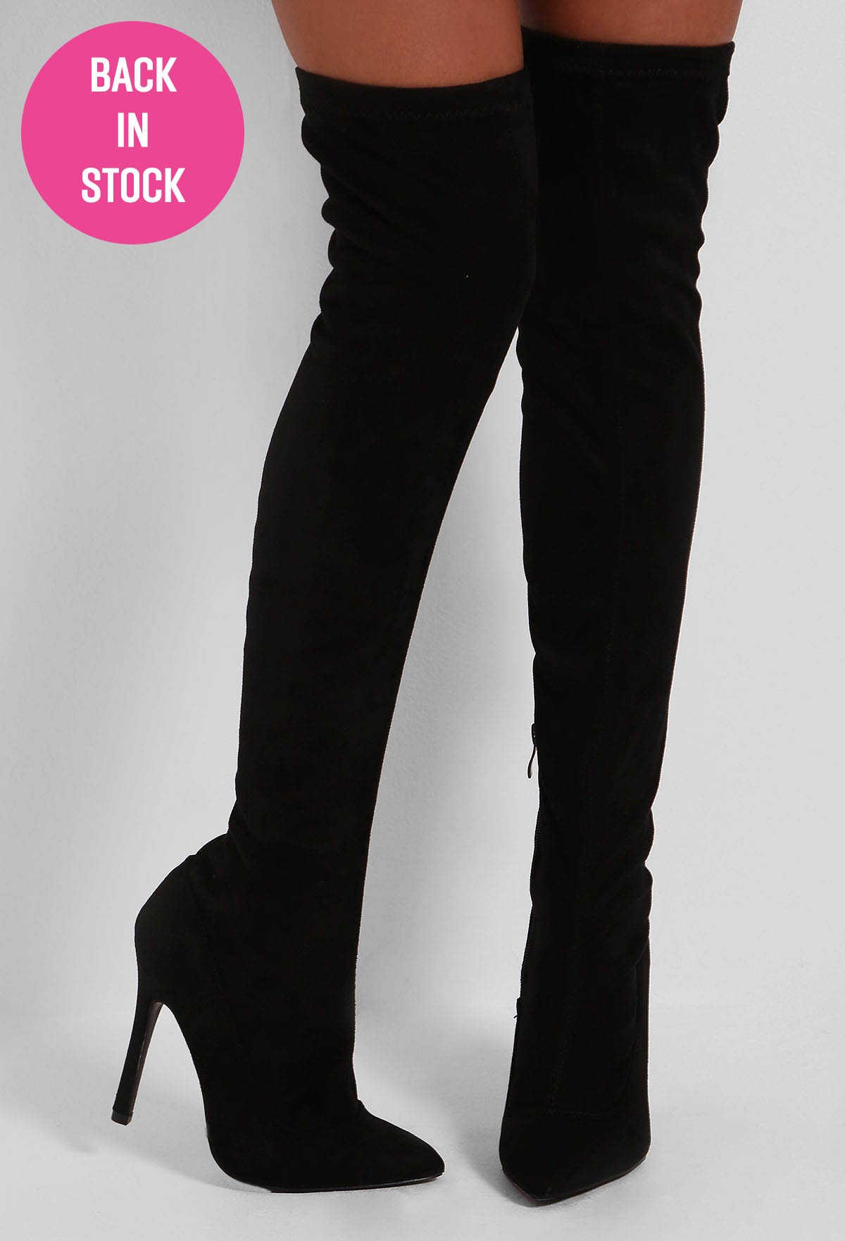 Black Suedette Over The Knee Heeled Boots | Pink Boutique