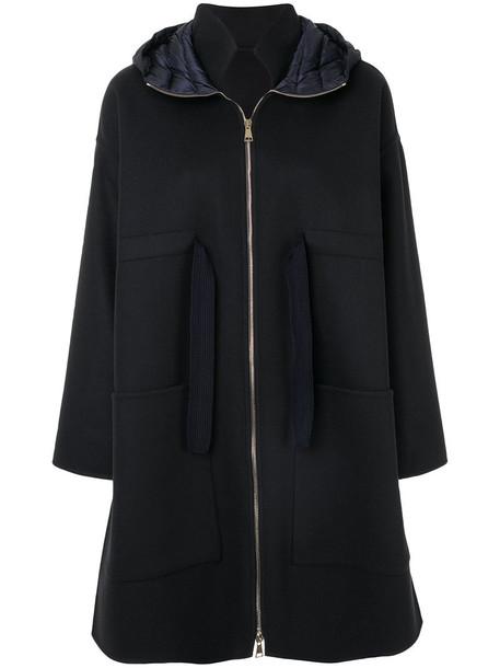 moncler jacket hooded jacket oversized women blue wool