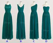 dress,teal green bridesmaid dresses,long bridesmaid dress,chiffon bridesmaid dreses,one shoulder bridesmaid dresses
