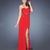 Red Sheath/Column Sweetheart Jewels High Slit Chiffon Prom Dress PD11645