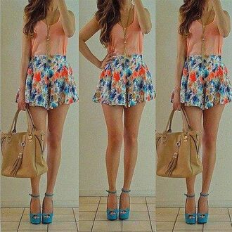 shorts flowers floral blue pink cute girly pretty heels high heels necklace purse bag tank top shirt romper hipster accessories jumpsuit beige purple beautiful shoes skirt blouse jewelry