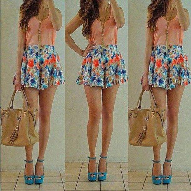 Shorts: flowers, floral, blue, pink, cute, girly, pretty ...