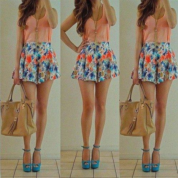 Shorts: flowers, floral, blue, pink, cute, girly, pretty, heels ...