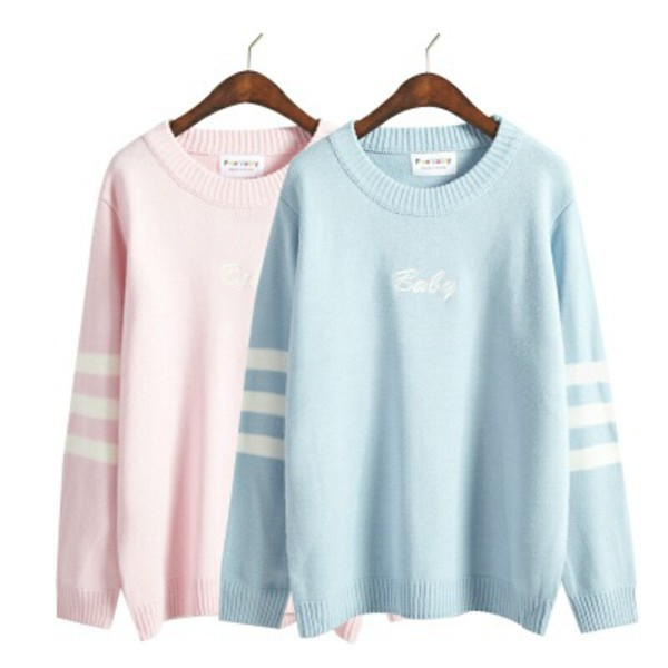 sweater, jumper, oversized, blue, pink, baby blue, baby ...