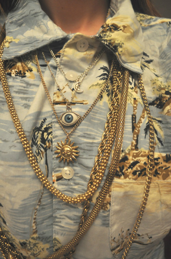 jewels sun necklae necklace chain blouse