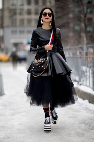 skirt nyfw 2017 fashion week 2017 fashion week streetstyle midi skirt black skirt tulle skirt tutu top black top leather top leather peplum top peplum bag embellished bag embellished earrings jewels jewelry shoes platform shoes socks sunglasses