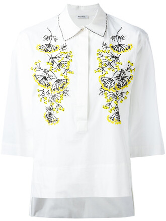 shirt embroidered women spandex white cotton top