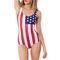 Red white star stripe flag print patriotic bodysuit swimsuit