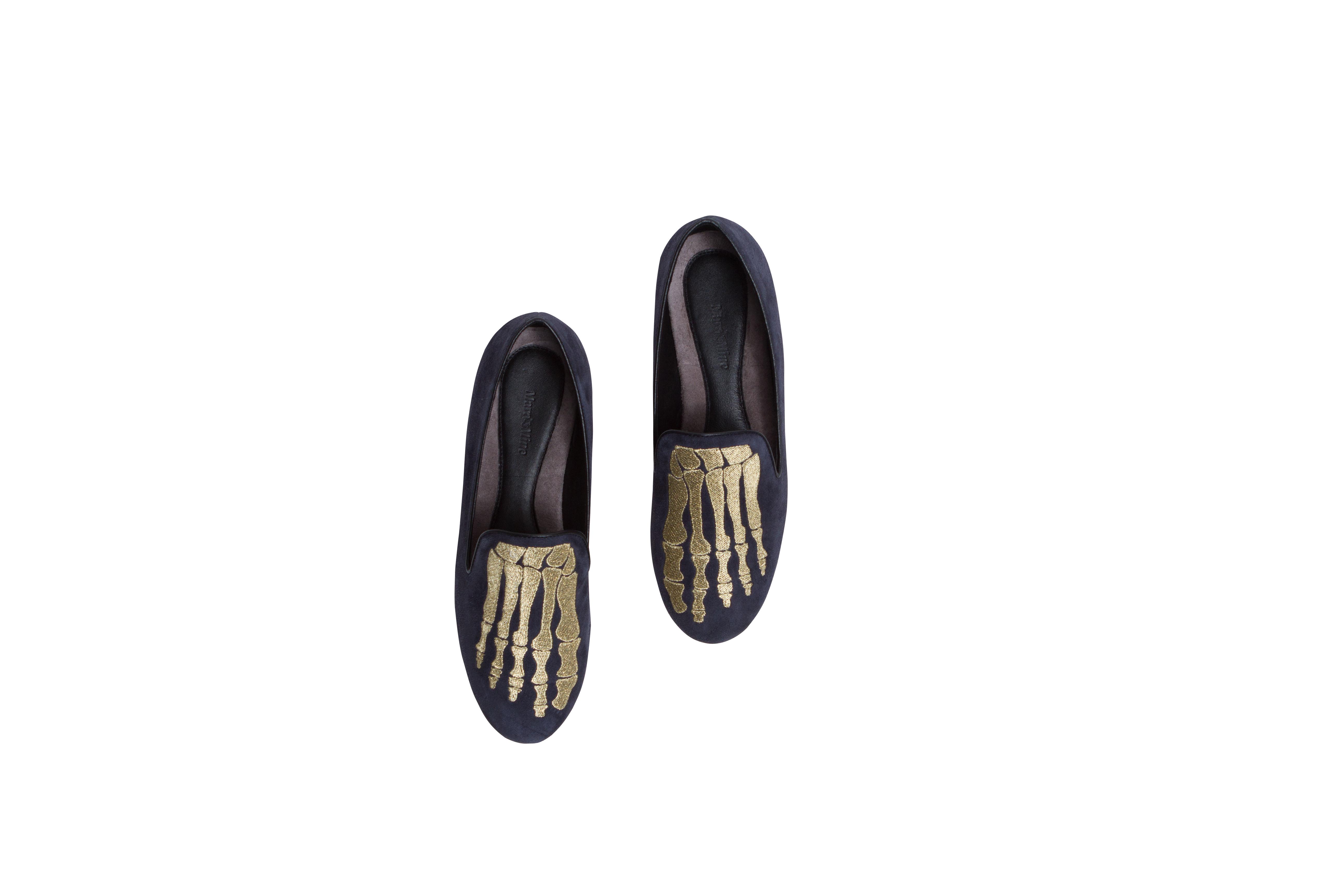 Jem Skull Slipper - Charcoal & Gold - Mara and Mine