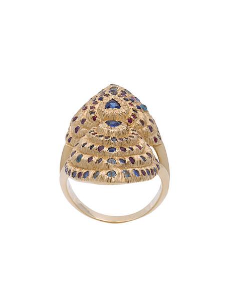 Venyx heart bear women ring gold grey metallic jewels