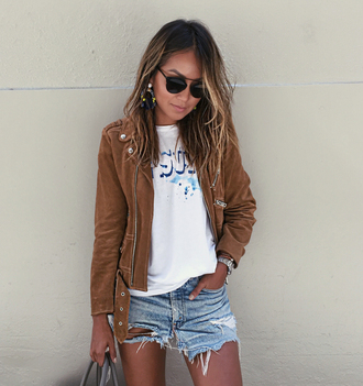 sincerely jules blogger t-shirt jacket skirt jewels shoes