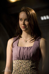 dress,chloe,stargate universe,purple ruching,two-tone,patterned skirt,fit-and-flare,just below the knee