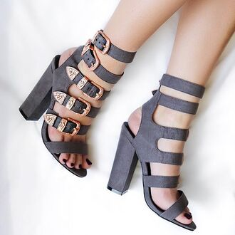 shoes nastygal heels block heel strappy buckles rose gold suede heel grey party