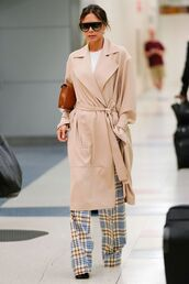 pants,coat,top,plaid,victoria beckham,celebrity,spring outfits