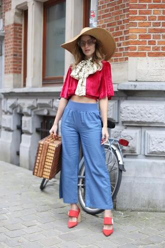 from brussels with love blogger top pants shoes hat bag travel bag crop tops blue pants
