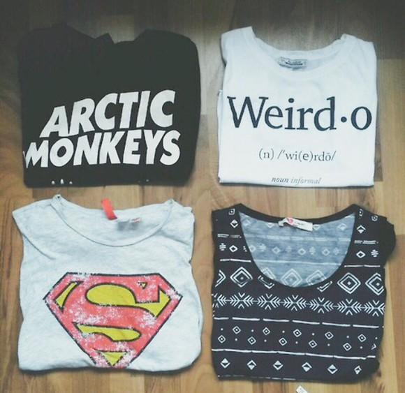 t-shirt superman arctic monkeys grunge indie boho band band t-shirt