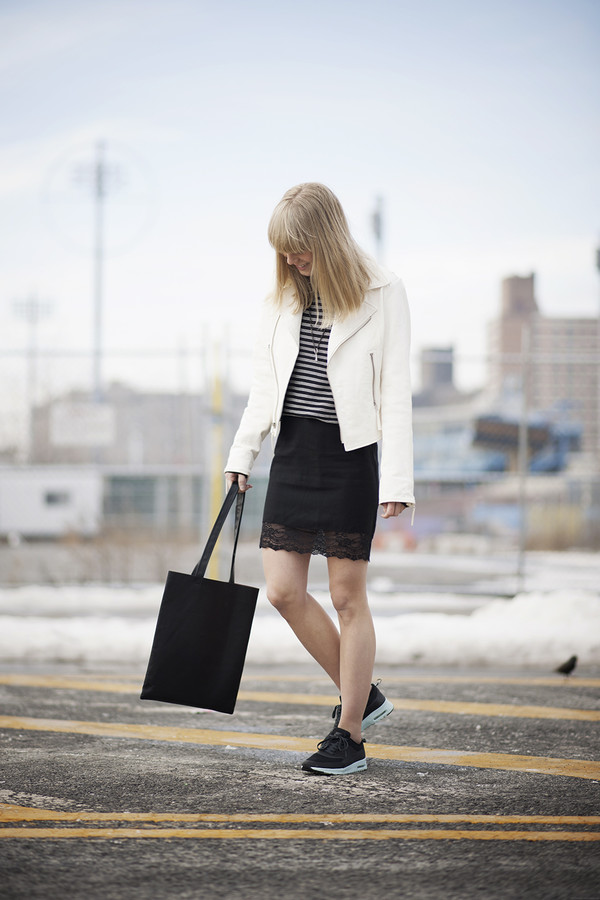 just another me jacket sweater skirt shoes bag
