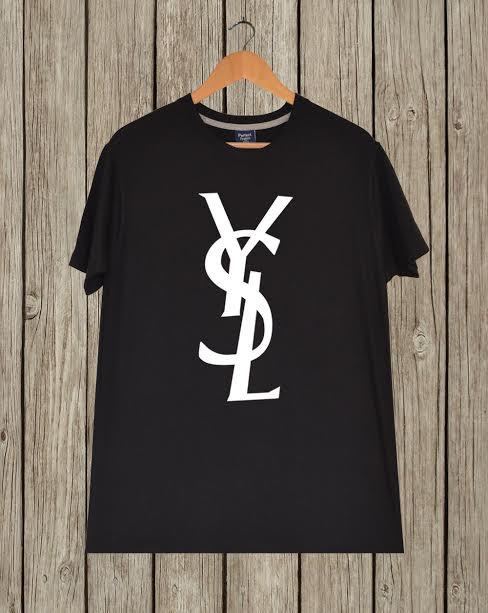 Ysl tshirt donna uomo bianco girocollo nero e logo di celebritee