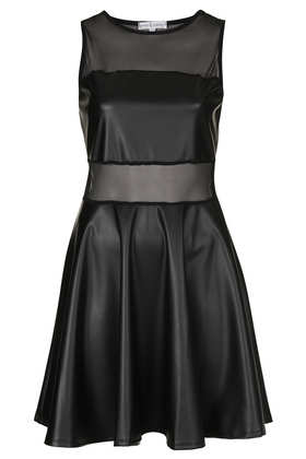 **PU Mesh Panel Skater Dress by Rare - Topshop