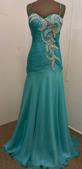 tulle prom prom dress teal dress teal prom dress ruched silver silver beading teal and silver spaghetti strap satin chiffon teal silver embellishments floor length dress