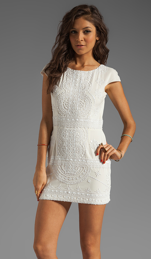 Lola silk cap sleeve dress in white/white from revolveclothing.com