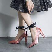 shoes,shanghai trends,pink,velvet,velvet heels,pink velvet,ss18,high heels,cute high heels,pink heels