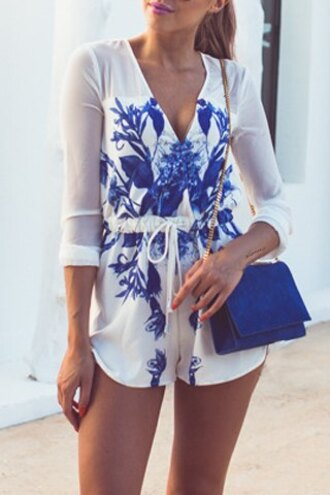 romper cute summer style trendy girly white blue floral fashion stylish long sleeves feminine clothes blue and white